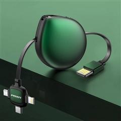 水滴三合一伸缩数据充电线(1m)(绿色)纸质彩盒装-国内版CN